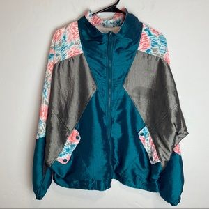 Vintage 80s 90s Windbreaker Floral Metallic Large